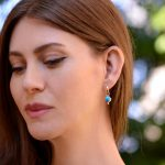 14K Gold Sleeping Beauty Turquoise Earrings with Eye Popping Color