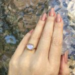 A Faceted Blue Sheen Moonstone Unbelievably and Mysteriously Gorgeous In 14k Yellow Gold