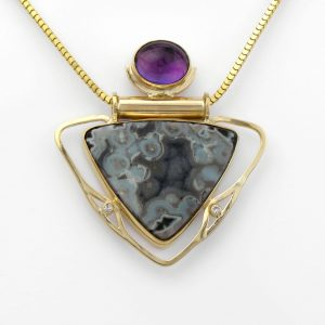 Amethyst and Lace Agate Druzy Art Nouveau Inspired Pendant with Diamonds in 14K Solid Gold, OOAK Handmade Statement Talisman