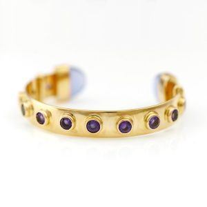 Amethyst 'Studs' With Blue Chalcedony At The Cuff Bold Beautiful Handmade OOAK In Solid 14KYellow Gold