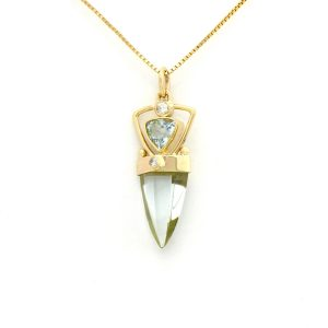 Arctic Blue Aquamarines and Diamond Accents Inspired Modern Art Nouveau Talisman Creation set in Handmade 14K Solid Gold