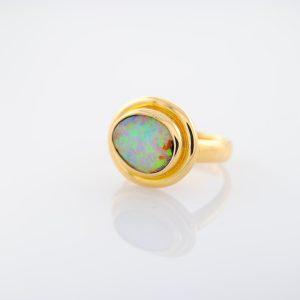 Australian Yowah Opal Ring set in Hand Made 18K Yellow Gold Setting OOAK Rare