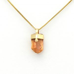 Beautiful Golden Topaz Raw Untreated Crystal Charm Pendant Set in 14K Yellow Gold