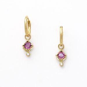 Beautiful Radiant Rose Sapphire and Diamond Ear Charms set in Solid 14K Suspended from Huggy Hoops Valuable Timeless Jewelry