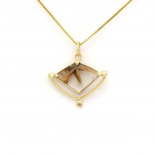 Beautiful Rutilated Rays in Quartz Amulet Hand Crafted in Solid 14K Yellow Gold.. A Collector's Dream!
