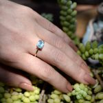 Blue Topaz Brilliant Aqua Colored Solitaire Stackable Ring in 14K Solid Yellow Gold