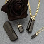 Bold Black Natural Tourmaline Pendant set in Solid 14K Yellow Gold Handmade One-of-a-Kind Talisman