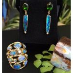 Bold Blue Green Opal and Diamond Statement Ring in 18K Gold