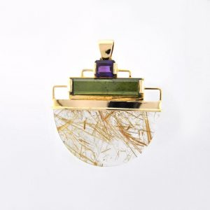 Bold Shimmering Angel Hair Rutilated Quartz, Green Tourmaline and Amethyst Pendant in 14K Solid Gold Handmade Setting OOAK Amulet