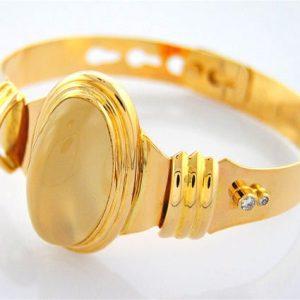 Cats Eye Moonstone and Diamond Bracelet in 18K Gold Magnificent Star of India Fine Handmade Jewelry White Moonstone Adjustable Bracelet