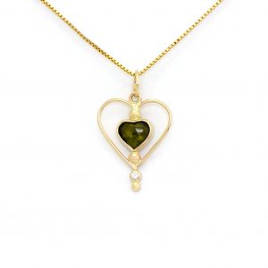 Charming Green Tourmaline Heart Pendant with Diamond Accent In Real 14k Inspired Modern Art Nouveau