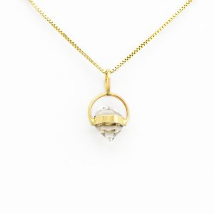 Charming Sparkling Herkimer Diamond Pendant Set in an Angelic Halo of Solid 14K Gold Hand Made with Love