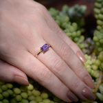 Classic Purple Amethyst Solitaire Ring in 14K Yellow Gold