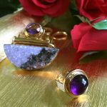 Color Rich Amethyst High Dome Cabochon Statement Ring in 14K Yellow Gold