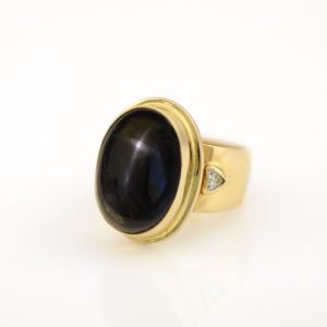 Commanding Black Star Diopside Statement Ring with White Sapphires in 14K Yellow Gold
