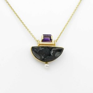Dazzling Black Druzy, Amethyst and Pearl 14K Gold Pendant, Art Deco Style