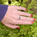 Delicate Emerald and Sapphire Art Deco Stacking Ring in 14K Gold
