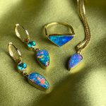 Dramatic Vibrant Opals with Brilliant Topaz Ear Charms set in 14K Gold on Removable Hoops, Handcrafted OOAK