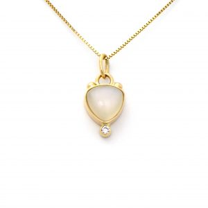 Dreamy White Goddess Moonstone and Diamond Charm Pendant Surrounded in 14k Solid Yellow Gold of Exceptional Craftmanship