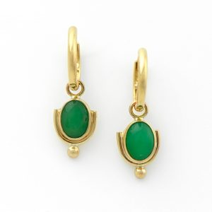Eccentric Glowing Green Chrysoprase in 14K Gold on Detachable Hoops in Art Deco Style