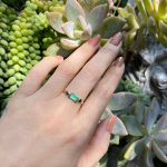Emerald Crystal Ring All Natural and Uncut in Art Deco Inspired Setting of 14K Solid Gold So Unique