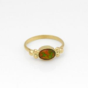 Ethiopian Welo Opal with Fabulous Orange, Red and Green Flashes of Color Set in Solid 14k Yellow Gold Its A Finger Party Celebration