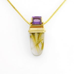 Exquisite Statement Pendant with Rutilated Quartz and Amethyst in 14K Gold