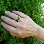 Extra Bold Green Peridot Statement Ring in 14K Yellow Gold