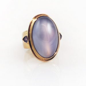 Extraordinary Chalcedony Statement Ring punctuated by Tanzanite in 14K Yellow Gold