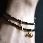 Faceted Black Spinel Beaded Bracelet with 14k Gold Clasp and Optional Gold Heart Charms Fine Handmade Jewelry