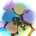 Genuine Ethiopian Welo Opal with Real Diamonds Studs in 14K Solid Gold