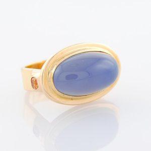 Glowing Blue Chalcedony and Orange Garnet Statement in 14K Yellow Gold