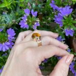 Golden Citrine Luminous High Dome Cabochon With Pink Tourmaline Accent Stones OOAK Statement Ring in Solid 14K Yellow Gold