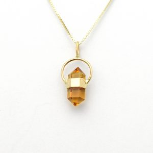Golden Yellow Citrine Halo Charm in 14K Solid Gold, An itty bitty bit of Spiritual Chic