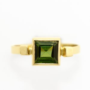 Gorgeous Green Tourmaline Solitaire Stackable Ring set in 14K Solid Yellow Gold Handmade OOAK