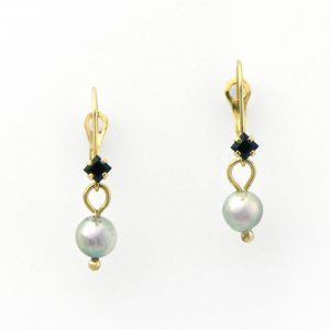 Graceful and Unique Blue Sapphire and Gray Pearl Drop Earrings in 14K Gold