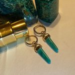 Graceful Chrysocolla Drops Hand crafted in Solid 14K Yellow Gold, Removable Unique Charms