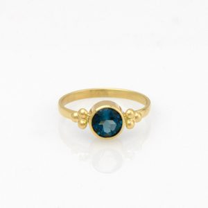 Graceful London Blue Topaz Solitaire in 14K Yellow Gold 3 Dot Setting
