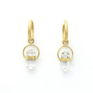 Graceful Natural Clear Quartz Crystal Earrings Wrapped in 14K Yellow Gold To Make You Smile