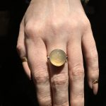 Hand Carved Natural Moonstone Ring Set in 14k Solid Yellow Gold Glowing Moonface