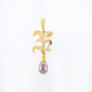 Hand Cut OHM Mantra Sanskrit Charm with Captivating Tahitian Pearl White Sapphire And Diamond in 14K