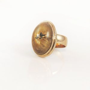 Huge Cabochon Statement Ring with Unique Rutilated Quartz in 14K Gold