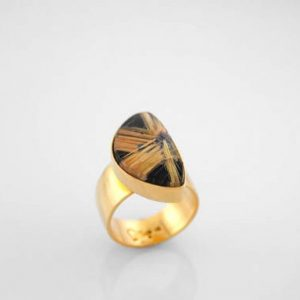 Incredible Rutilated Quartz and Onyx Composite Work of Art in 14K Yellow Gold, Star Formation