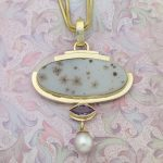Incredible Speckled Lavender Druzy, Amethyst and Pearl Statement Pendant in 14K Gold With Enhancer