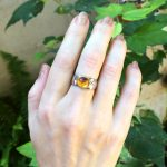Individual Citrine Cabochon Ring set in a 14K Rose Gold Bezel on a Sterling Silver Shank