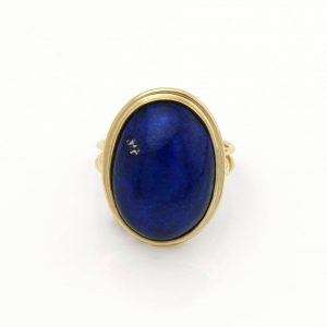 Large Oval Lapis with Pyrite Cabochon in 14K Yellow Gold, 2 Dot Design
