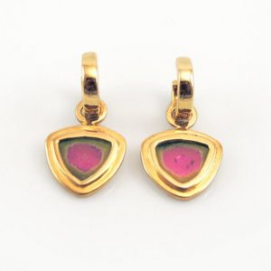 Luxury Watermelon Tourmaline Slices in 14K Yellow Gold on Removable Hoops