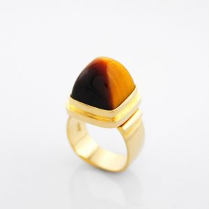 Marvelous 3D Tiger Eye High Dome Pyramid Cabochon Ring in 14K Yellow Gold