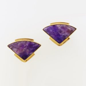 Marvelous and Vibrant Purple Sugilite Fans in 14K Yellow Gold
