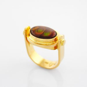 Marvelous Fire Agate Ring in 14K Yellow Gold in Sasa's Trademark Stirrup Design